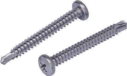self Tapping Screws for Metal Square Drive Pan Head Sheet Metal Screws 316 Stainless Steel #8 X 1//2 100 Pcs self Tapping Metal Screws