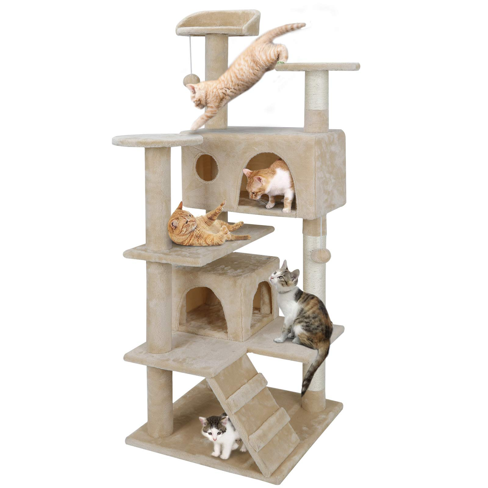 Nova Microdermabrasion 53 Inches Multi-Level Cat Tree Stand House Furniture Kittens Activity Tower with Scratching Posts…