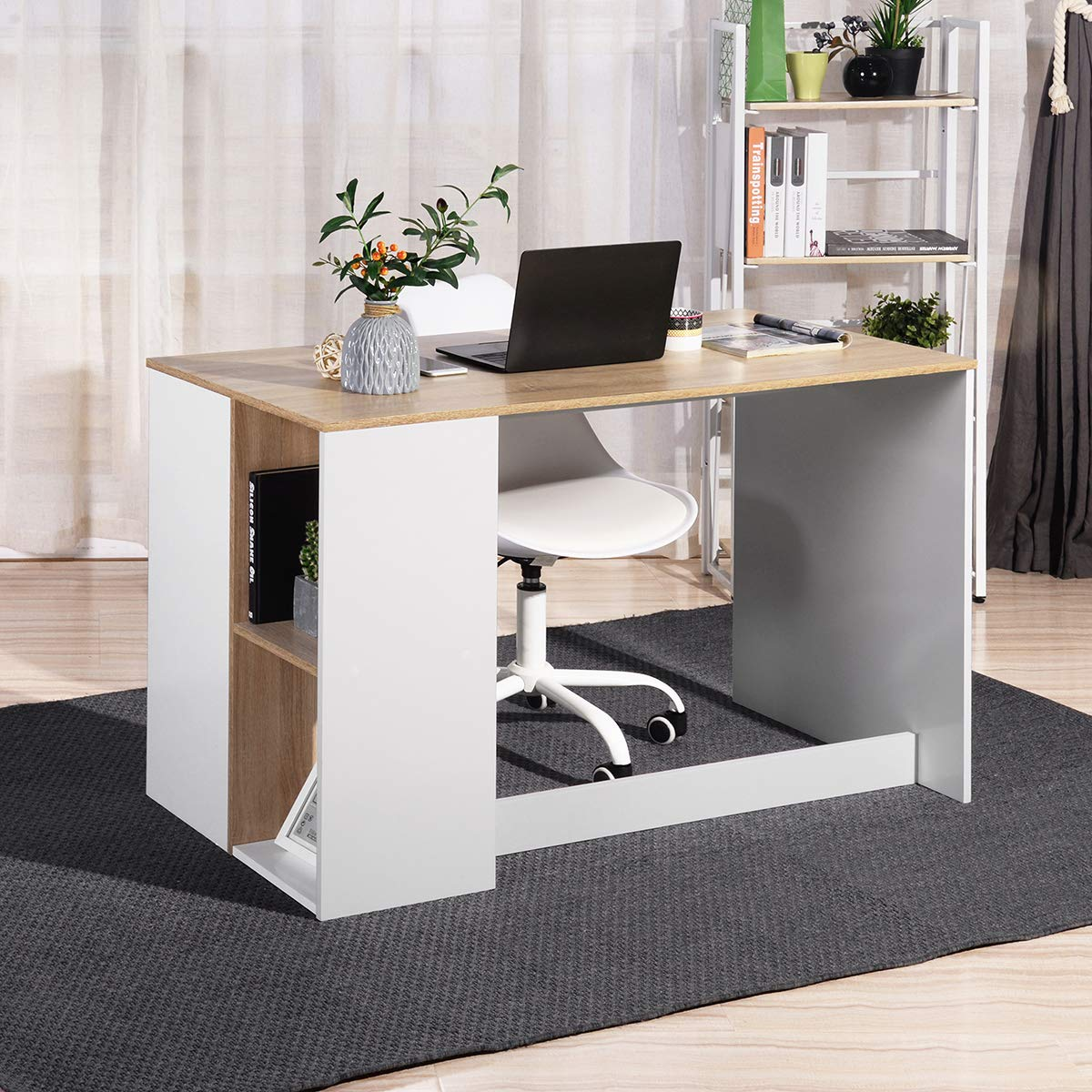 Coavas Office-Computer Desk with Storage, Study-Work Desk with 5 Shelves, Students-Writing Desk Home Laptop Study Table Modern Wood Hutch Large Workstation with Bookcase BREN11 /Beech and White by Coavas (Image #5)