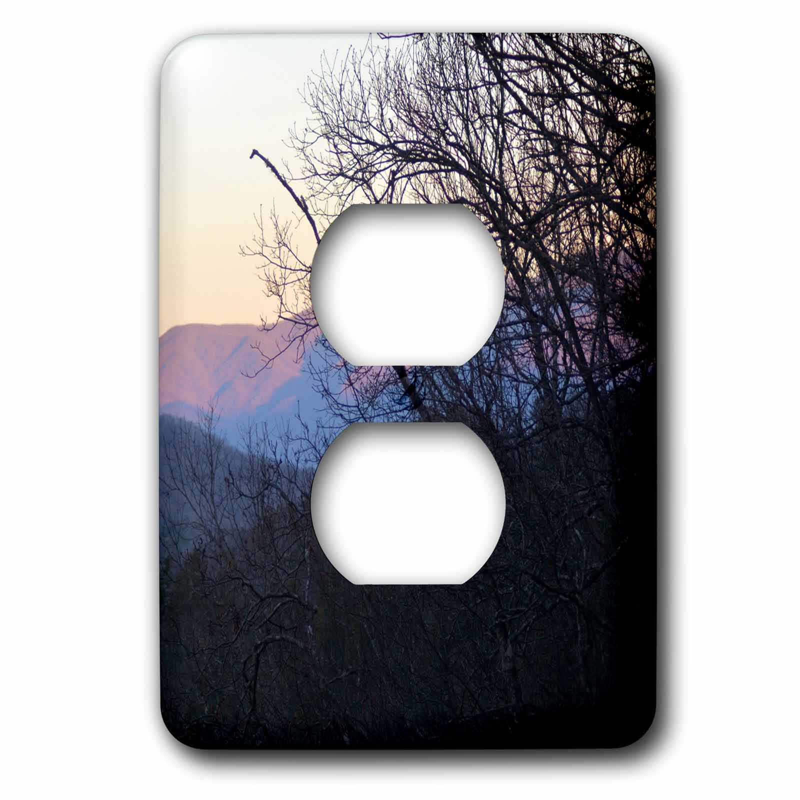 3dRose WhiteOaks Photography and Artwork - Mountains - North Carolina Mountains is a photo of early morning in the mountains - Light Switch Covers - 2 plug outlet cover (lsp_265358_6)