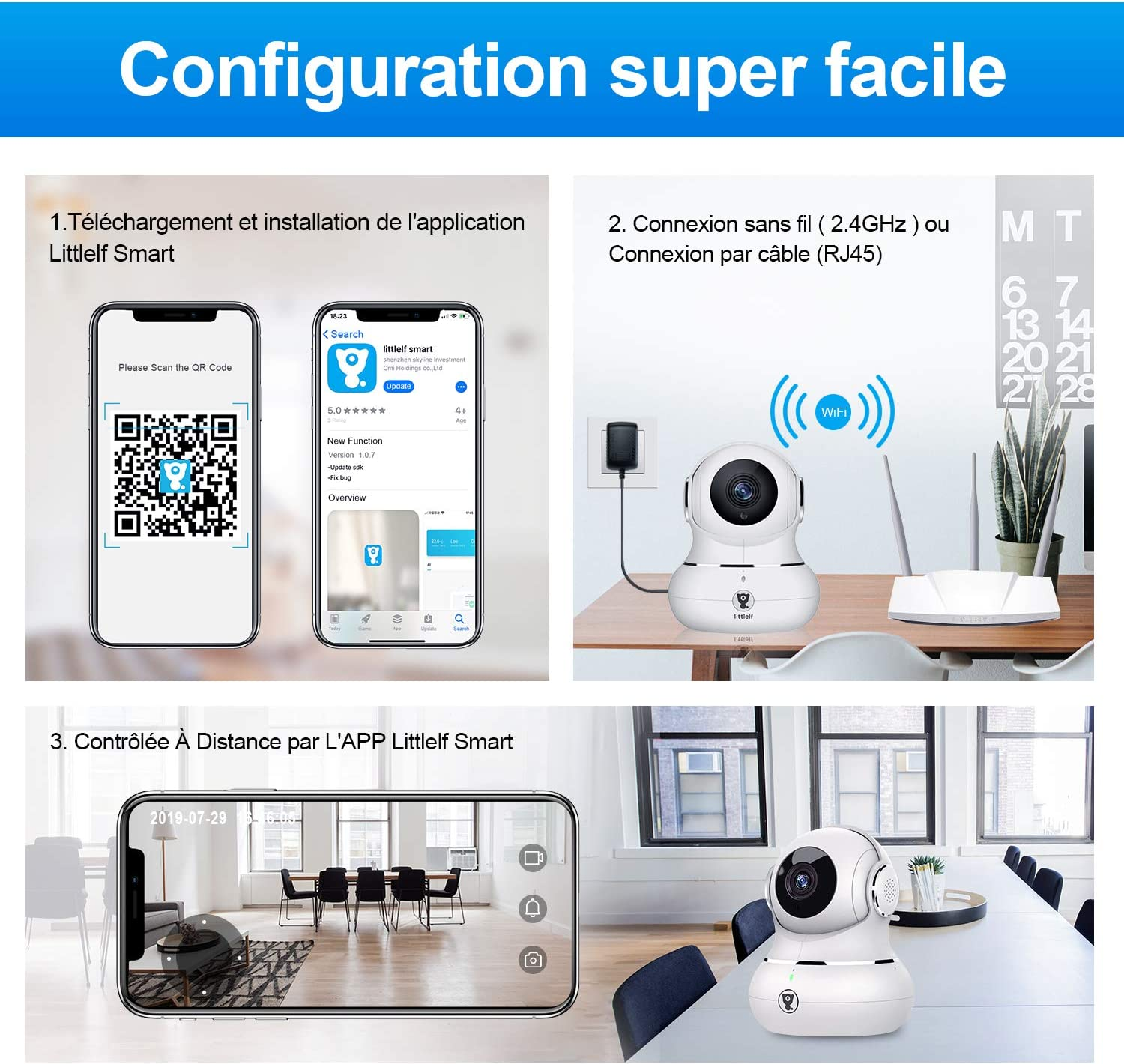 Littlelf Ip Camera 1080p Full Hd Wireless Remote Monitoring 350 Panorama And 105 Tilt Controlled By Applications 3d Panoramic Camera Remote Monitoring For Babies And Animals White Baumarkt