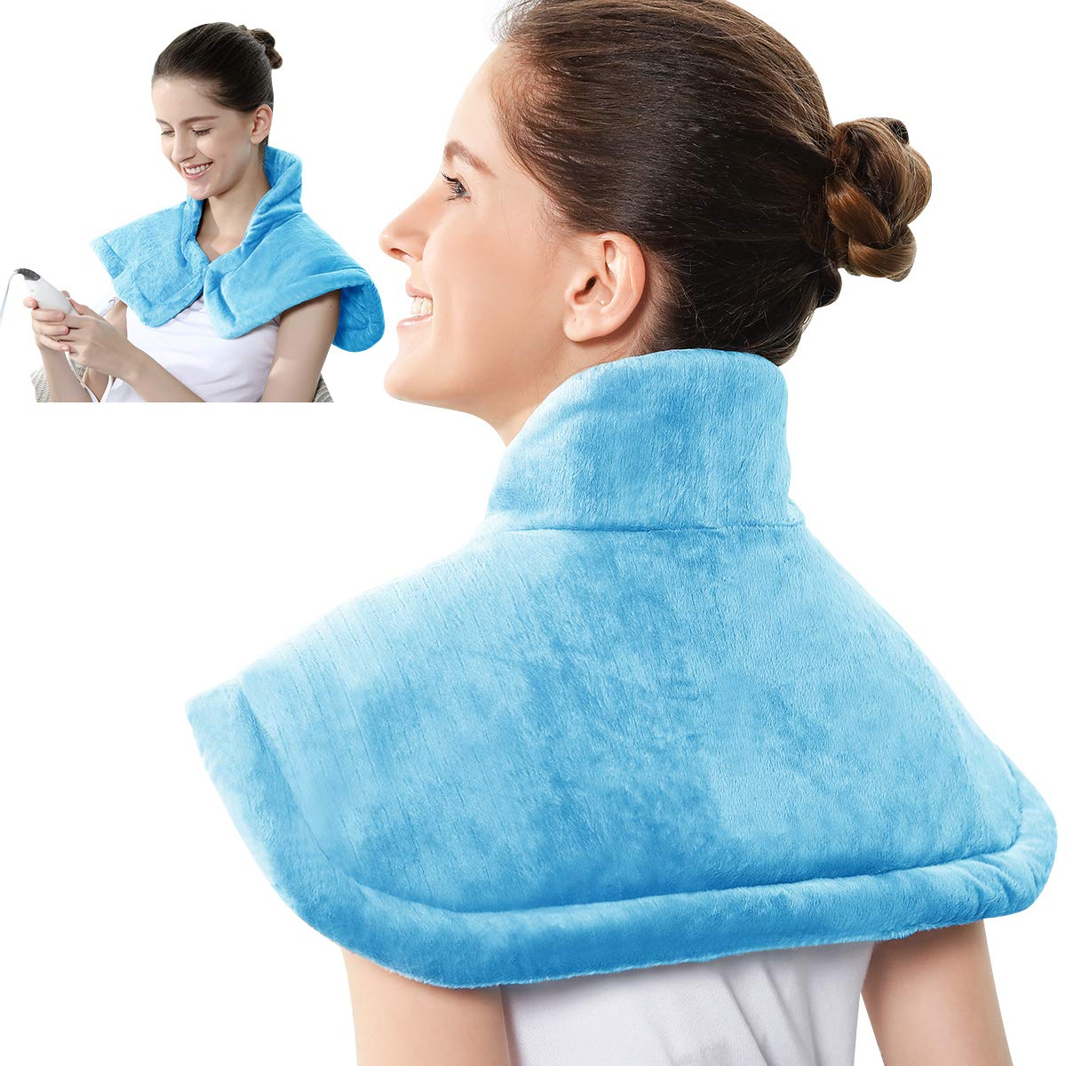 REVIX Electric Heating Pad for Neck and Shoulders Pain Relief with Auto-Off, Soft Micromink Neck Heated Wrap with Moist Therapy, 4 Heat Settings, UL Listed, Sky Blue
