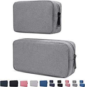 Electronics Accessories Organizer Bag,Portable Digital Storage Bag for Cable,Power Bank,Charger,Charging Cords,Mouse,Adapter,Earphones and More Out-Going,Business,Travel Gadget Bag,Grey(Small+Big)