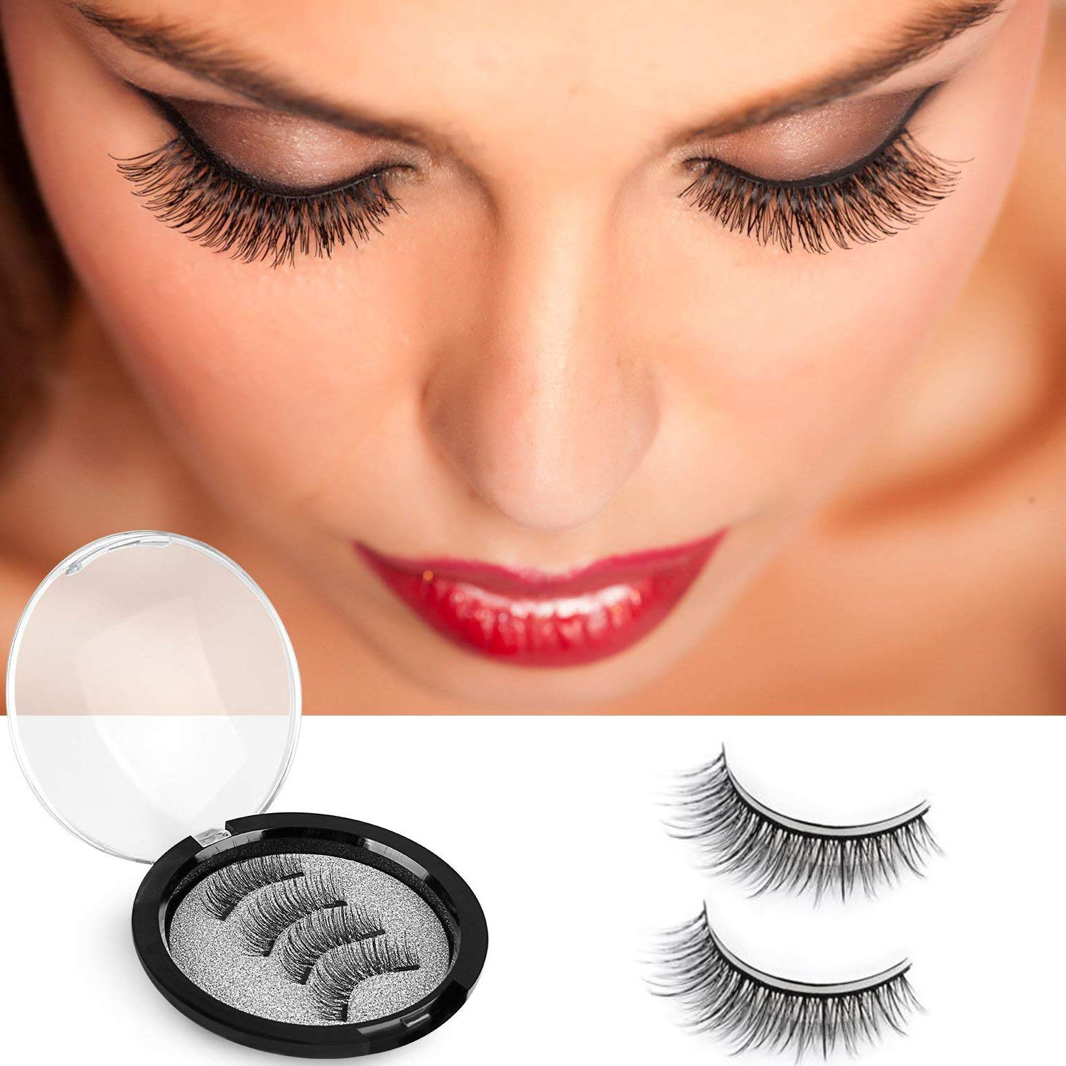 418a64bbf58 Amazon.com : Dual Magnetic False Eyelashes, Fancar 3D Fiber Magnetic Lashes  Extension- Best Reusable and Easy to Apply, Long Lasting Natural and ...