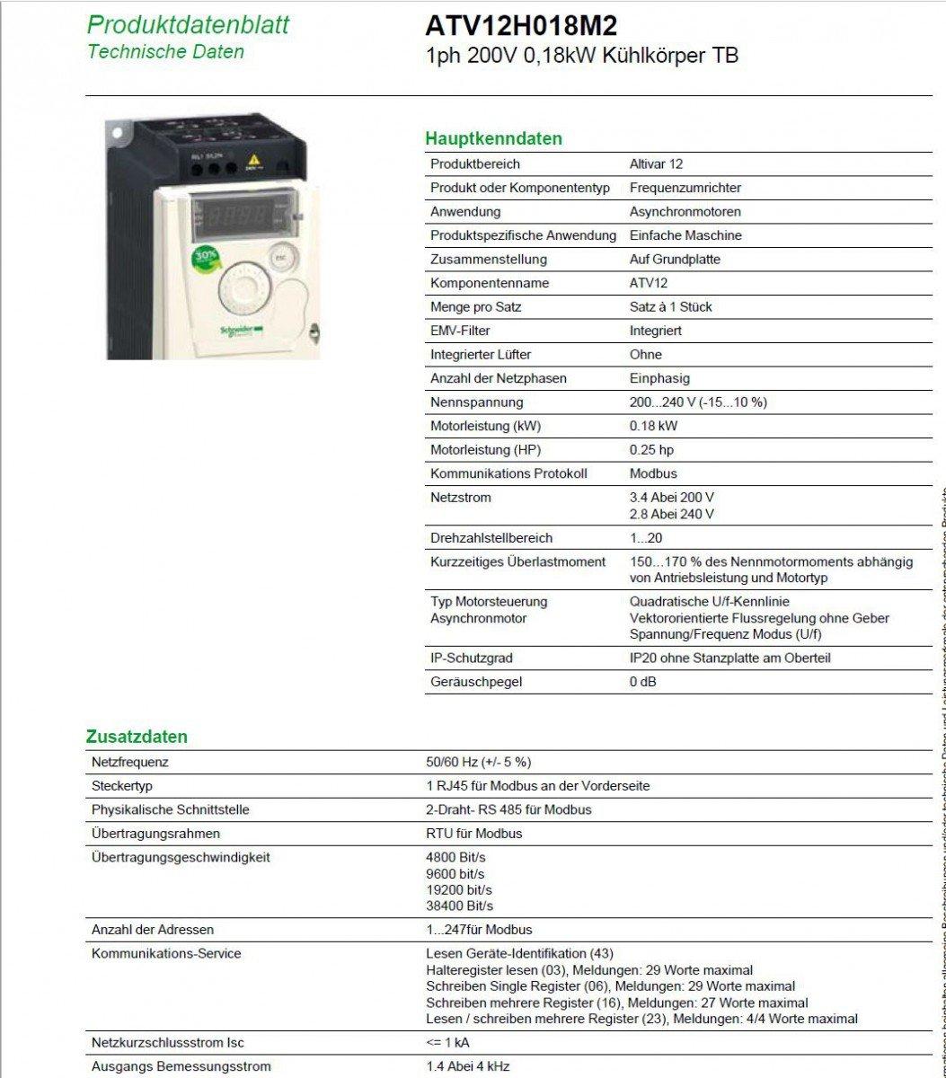 Schneider Electric ATV12H018M2 Fase 200 V 0,18 kW receptor de calor TB: Amazon.es: Industria, empresas y ciencia