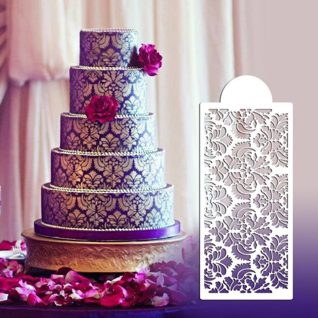 Gessppo Plastic Side Decor Mould Damask Lace Border Fondant Cake Stencil Cake Decorating Tools