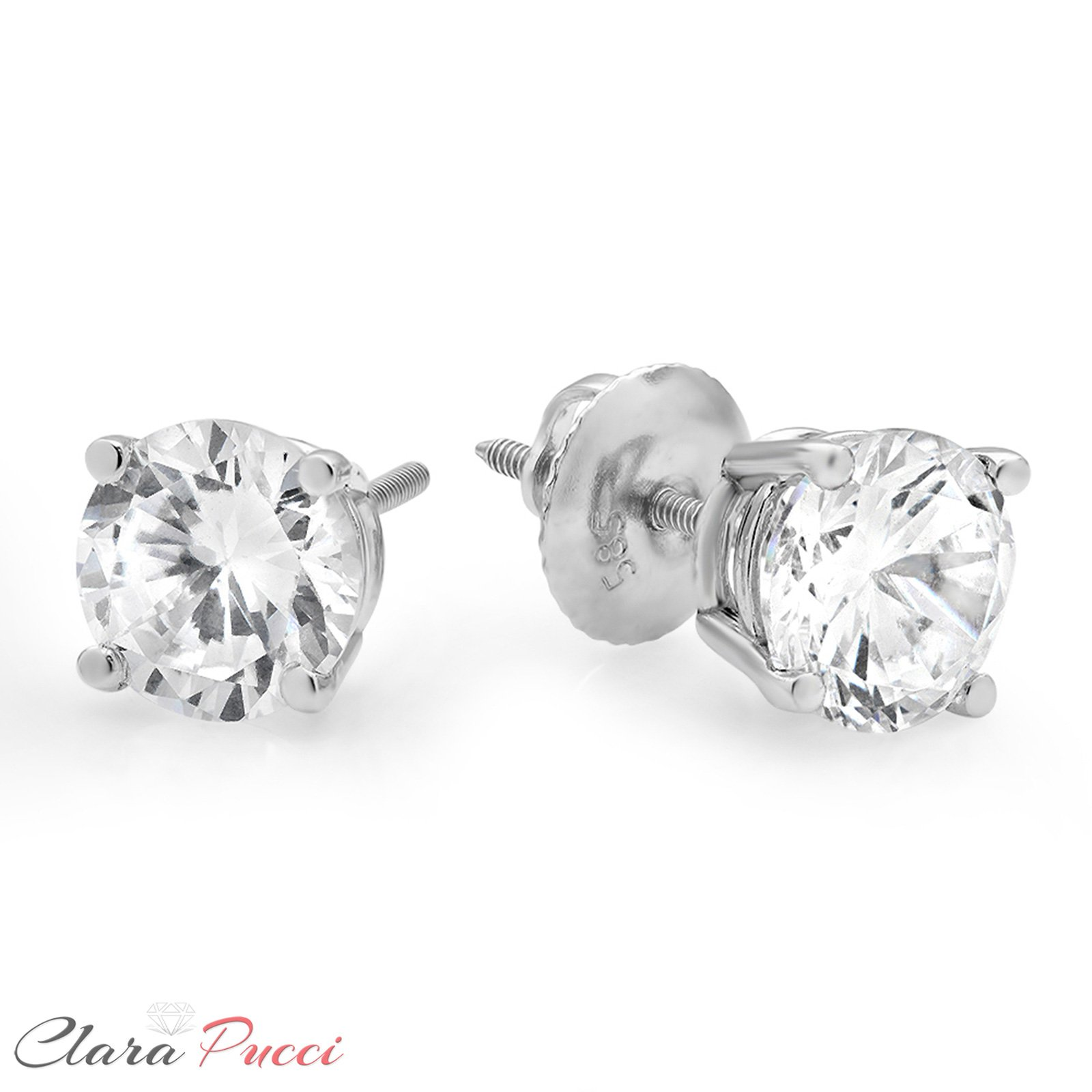 1.50 ct Brilliant Round Cut Solitaire Highest Quality Moissanite Ideal VVS1 D Anniversary gift Stud Earrings Real Solid 14k White Gold Screw Back by Clara Pucci (Image #7)