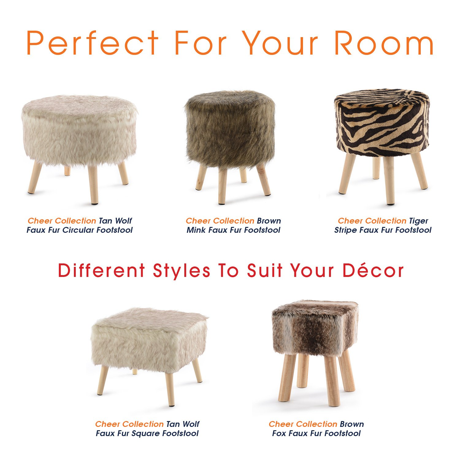 Cheer Collection 13'' Round Ottoman | Super Soft Decorative Brown Mink Faux Fur Foot Stool with Wood Legs by Cheer Collection (Image #7)