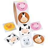 Fun Express - Simple Face Farm Animal Roll Stickers - Stationery - Stickers - Stickers - Roll - 100 Pieces