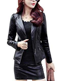 Tanming Womens Zip Up Faux Leather Moto Biker Jacket at ...