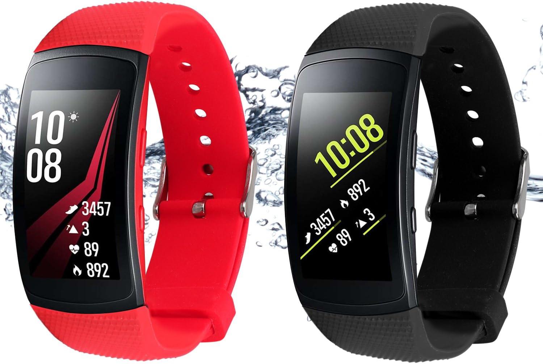 Rukoy Correas para Samsung Gear Fit 2 Band/Gear Fit 2 Pro [Paquete de 2: Negro + Rojo], Replacement Bands Accesorios para Samsung Gear Fit2 Pro SM-R365/Gear Fit2 SM-R360 Smartwatch (5.9