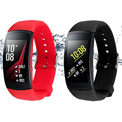 Rukoy Bands for Samsung Gear Fit 2 Band/Gear Fit 2 Pro[2-Pack: Black+Red], Replacement Straps Accessories for Samsung Gear Fit2 Pro SM-R365/Gear Fit2 ...