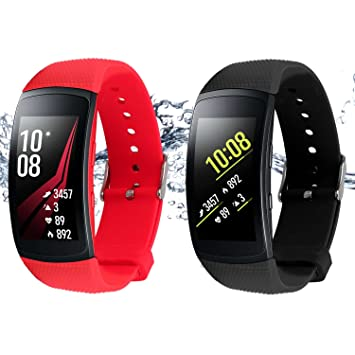Rukoy Correas para Samsung Gear Fit 2 Band/Gear Fit 2 Pro [Paquete de 2: Negro + Rojo], Replacement Bands Accesorios para Samsung Gear Fit2 Pro ...