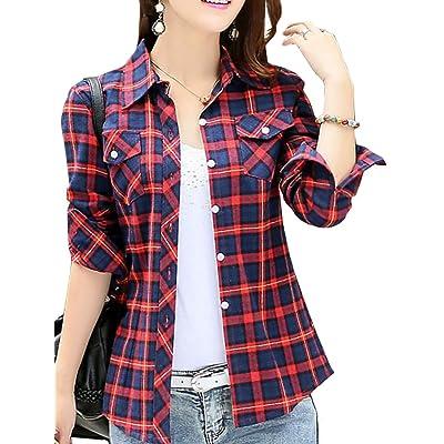 ARRIVE GUIDE Womens Classic Lapel Plaid Long Sleeve Button Down Shirts