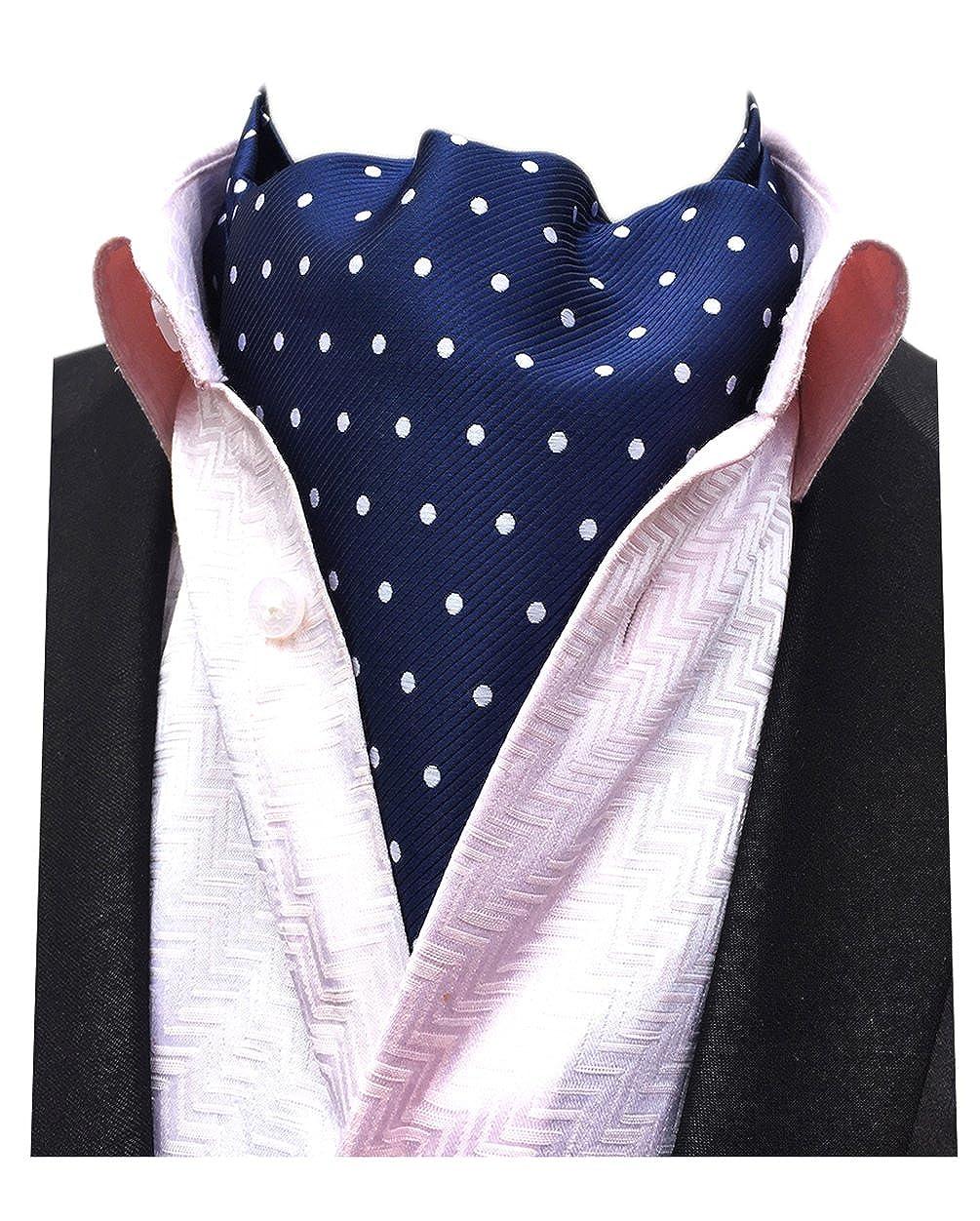 MENDENG Men's Polka Dot Jacquard Woven 100% Silk Cravat Necktie Formal Ascot AVNTF0502