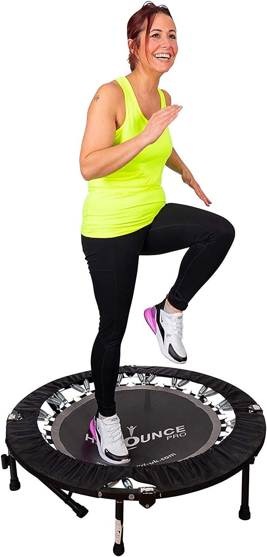 Hiit Bounce Pro Mini Cama Elástica Plegable con Inclinación AjustableIncluye DVD con Una Compilación de Rebotes de alta Energía y Entrenamiento de Inclinación Trampolines Fitness Peso máximo 140 kg