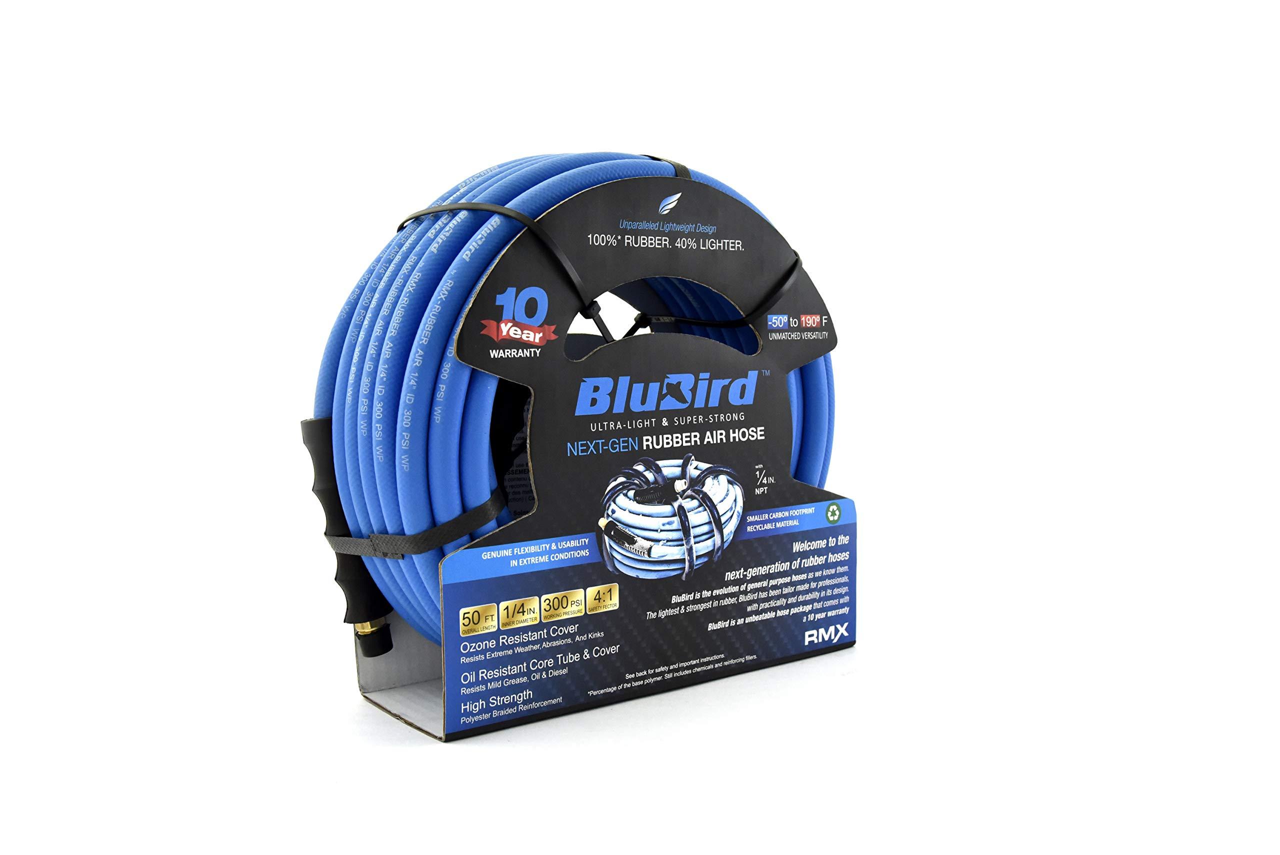 BluBird Lightest, Strongest, Most Flexible Rubber Air Hose (1/4'' x 50') - BB1450