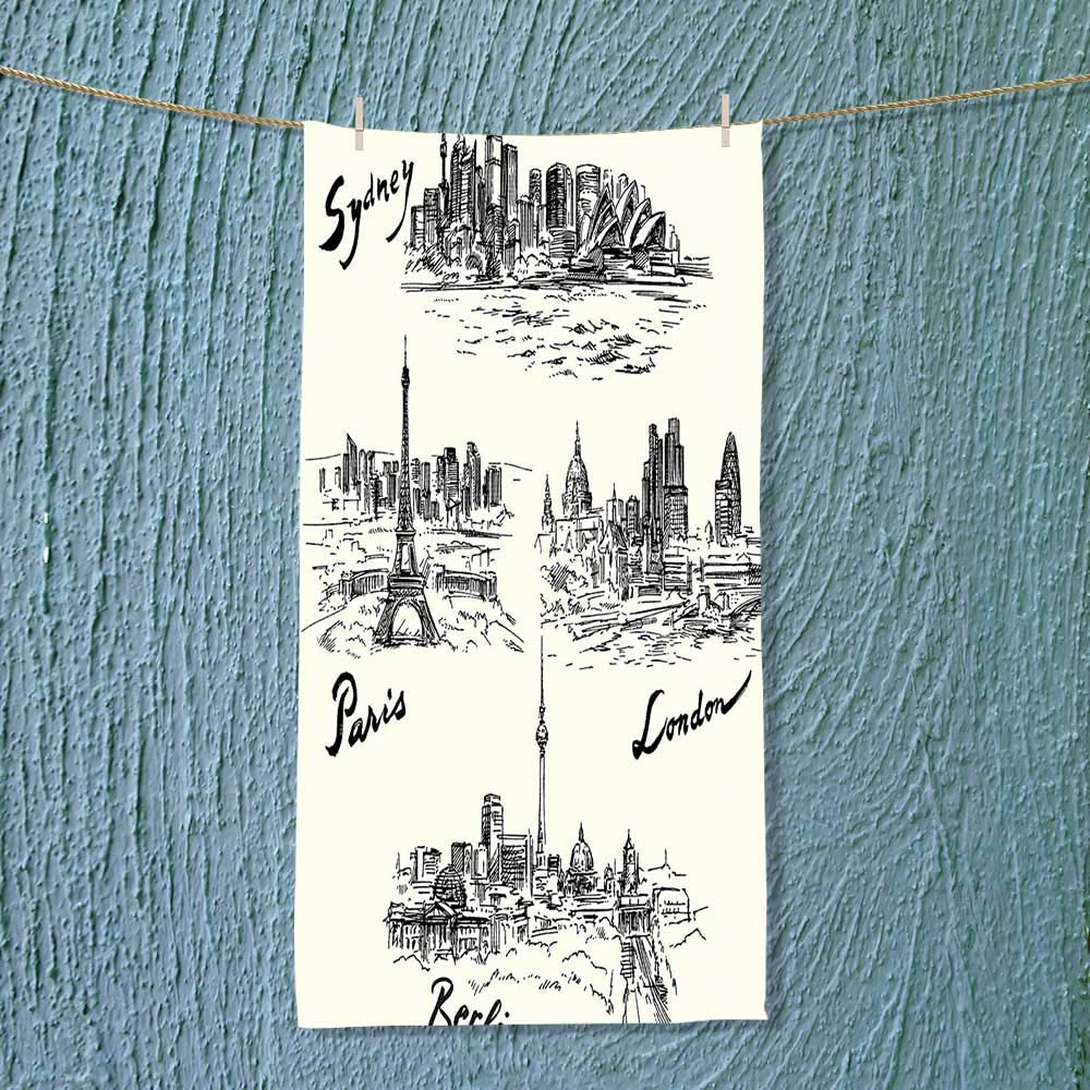 SOCOMIMI Super Absorbent Towel Silhouettes of Different Popular Cities in The World Paris Sidney Berlin London Print Ideal for Everyday use