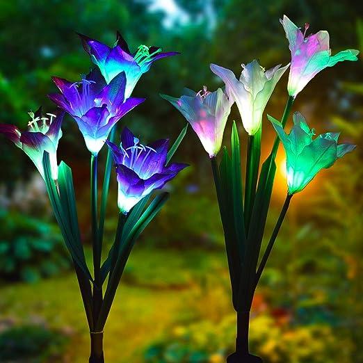 Luces solares de jardín para exteriores, luces LED con luz de lirio para patio, decoración de patio, flor más grande y panel solar más amplio (2 unidades, color al azar): Amazon.es: Iluminación