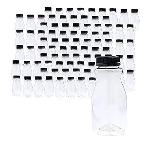 96 Pk Empty PET Plastic Juice Bottles - 8 oz Reusable Clear Disposable Milk Bulk Containers with Tamper Evident Caps (PET Carafe)