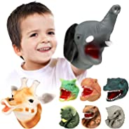 Geyiie Hand Puppet Toys for Toddler, Soft Rubber Realistic Animal Puppets Glove ,Elephant,Giraffe, Dinosaur Puppets Toys, Bi