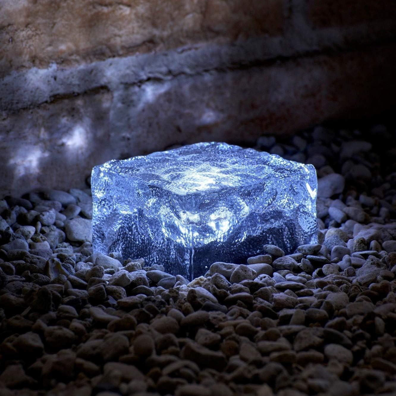 Auraglow Luces LED de Bloque Solares de Vidrio Esmerilado para Iluminación, Pavimentación y Cubierta de Jardines al Aire Libre - Paquete de 4