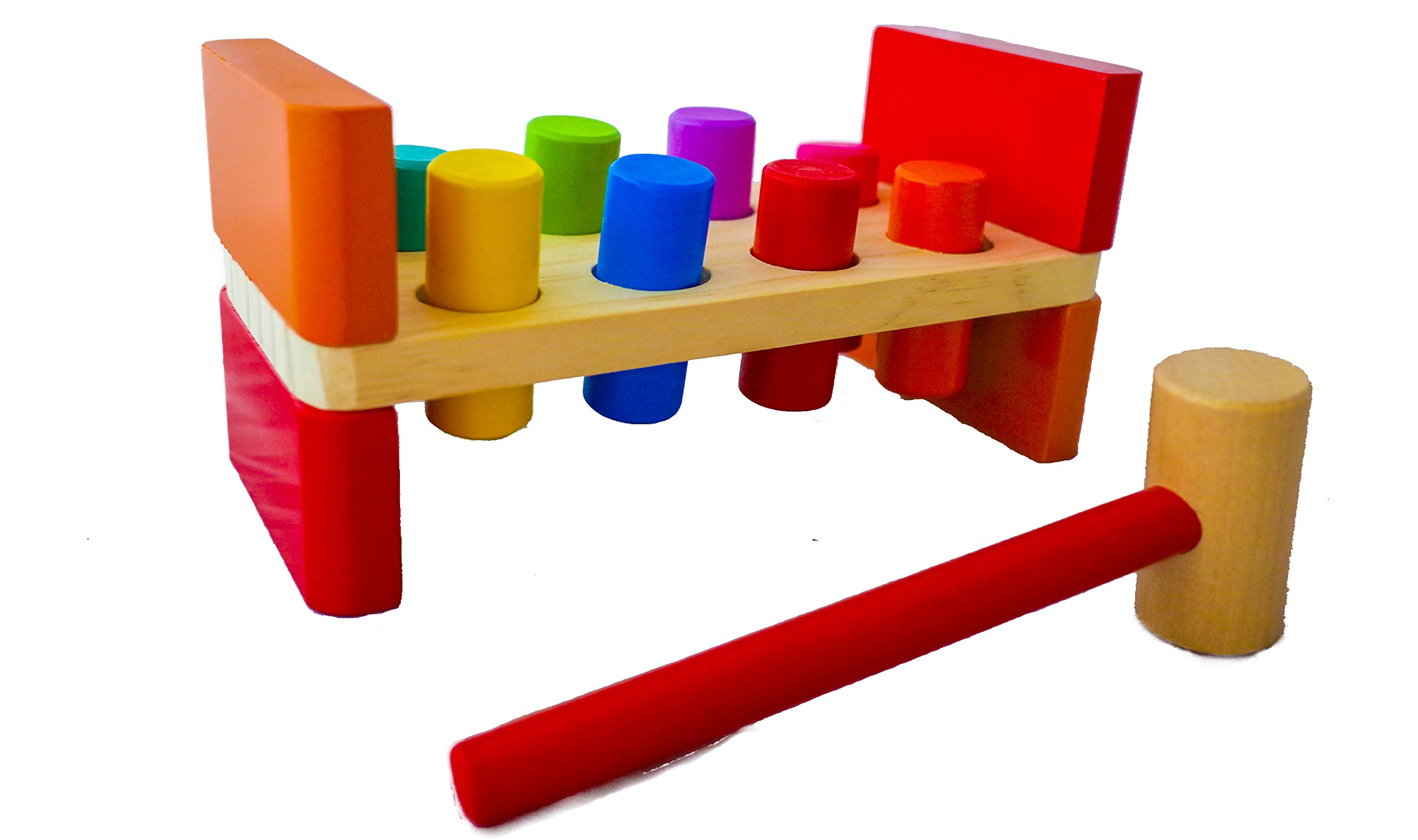 Pounding Bench Wooden Toy with Mallet - Hammering Block Punch and Drop Instruments - Hammer and Peg Board - Best Gift for Toddler Boy or Girl - Montessori