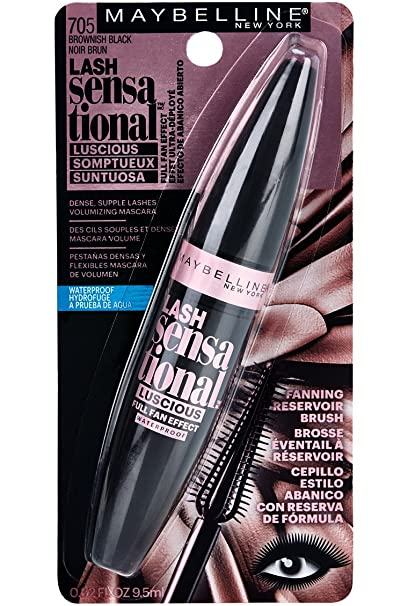 Amazon.com: Maybelline New York Lash Sensational Luscious Waterproof Mascara, Brownish Black, 0.3 Fluid Ounce: Beauty