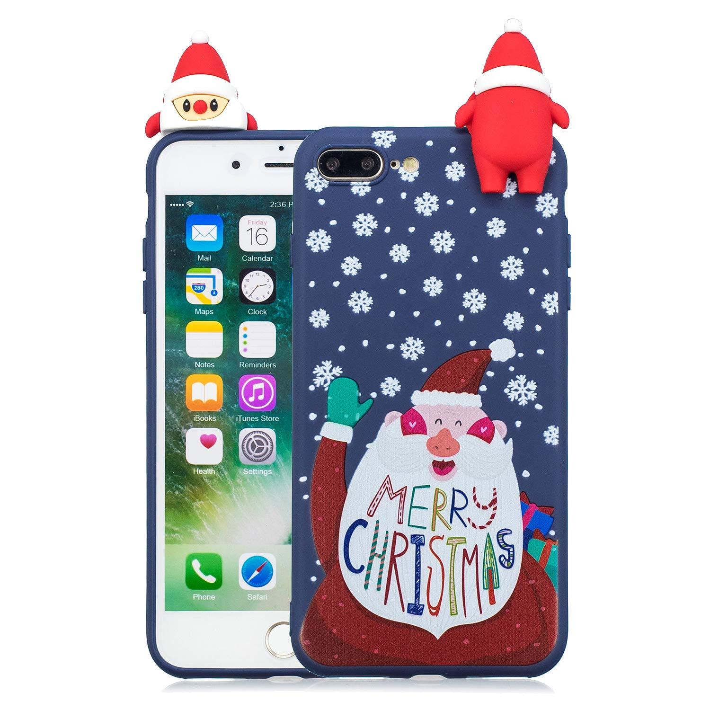 Yobby Weihnachten Motiv Handyhülle für iPhone 7,iPhone 8 Hülle, 3D Cartoon Karikatur Süß Muster Dünn Rückseite Weich Silikon Gummi Stoßfest Schutzhülle-Bär Schneemann