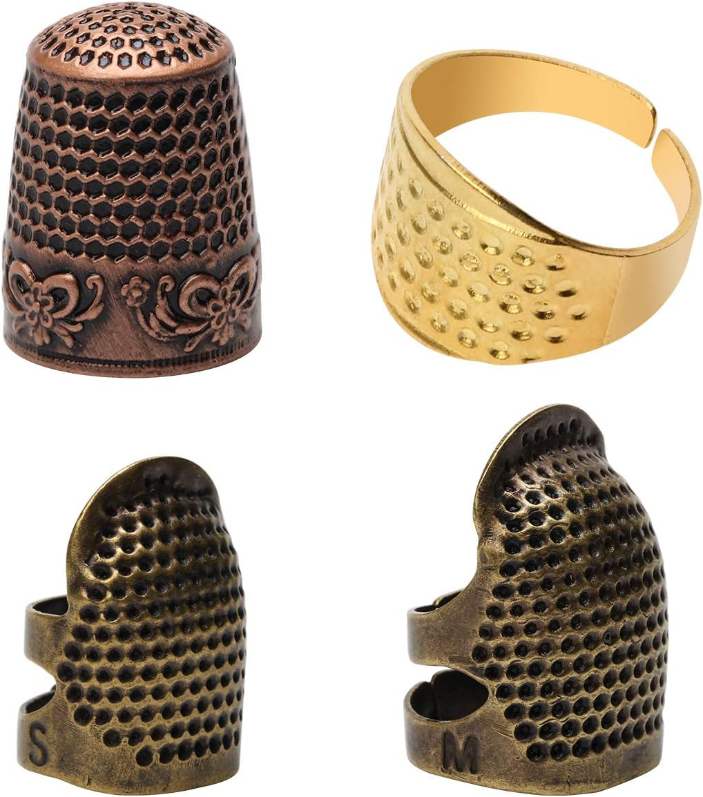 4 Piece Sewing Thimble Hand-Working Sewing Thimble Finger Protector Adjustable Metal Finger Shield Ring Needlework Fingertip DIY Sewing Tools Accessories