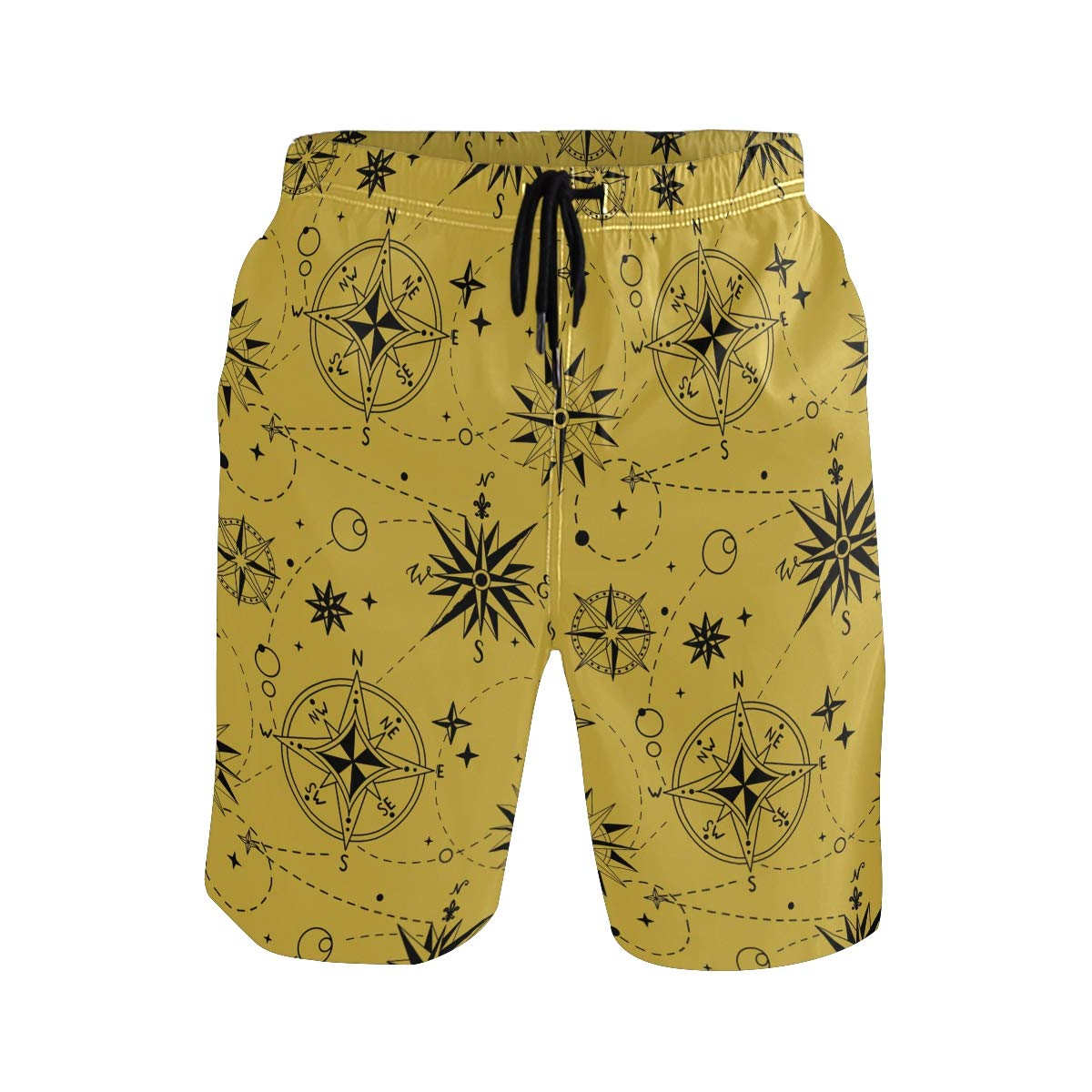 JERECY Mens Swim Trunks Nautical Compass Pattern Quick Dry Board Shorts with Drawstring and Pockets