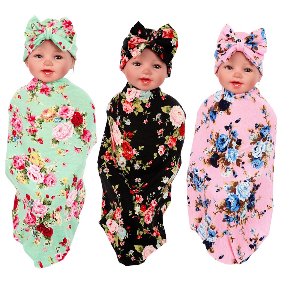 3 Pack Newborn Floral Swaddle BQUBO Receiving Blanket with Headbands or Hats Sleepsack Toddler Warm Baby Shower Gift