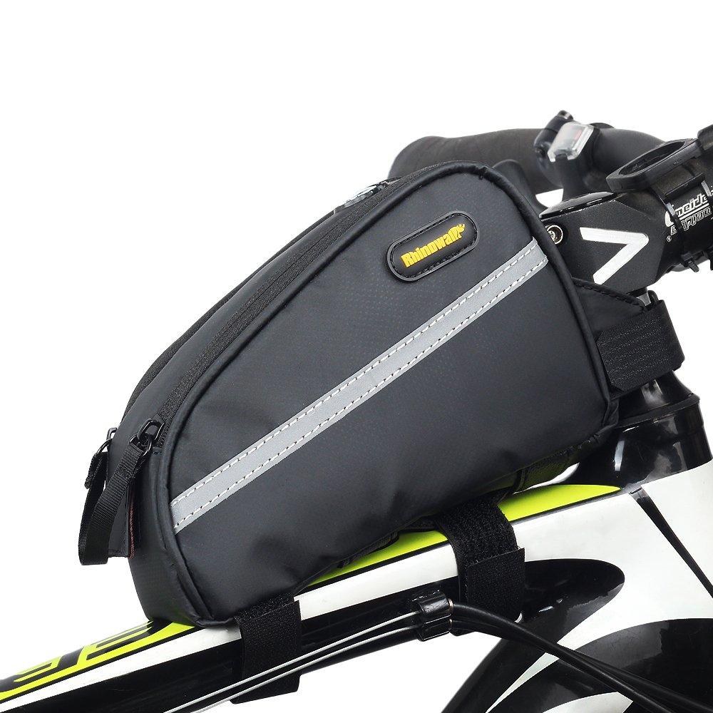 noir Rhinowalk V/élo avant Sac tube 17,8 cm haute capacit/é /étanche en serg/é Nylon Lot pour v/élo de montagne V/élo pliable Fixed Gear Bike Noir