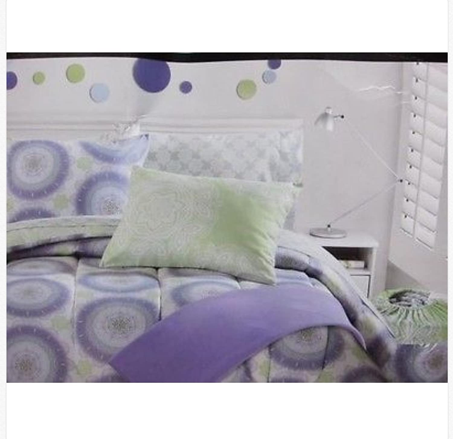 Cynthia Rowley 8 Pc Twin XL Comforter Bedding Set Medallion Purple Green White And a Gray With Laundry Bag Dorm