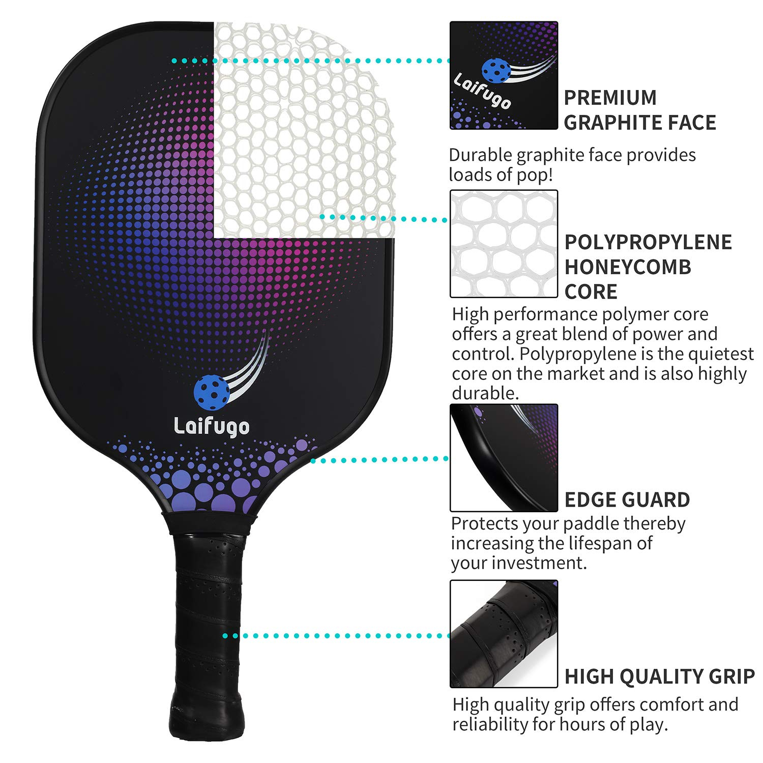 Graphite Pickleball Paddle Set - Laifugo Graphite Honeycomb Core Paddles Sets of 2 Including Racket Covers