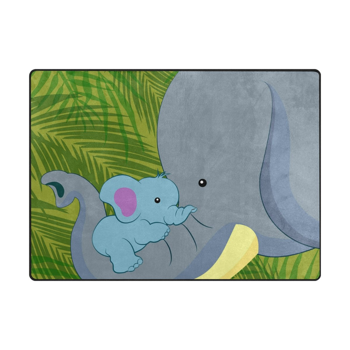 Vantaso Soft Foam Nursery Rugs Cute Baby Elephant With Mother Non Slip Play Mats for Kids Boys Girls Playing Room Living Room 63x48 inch