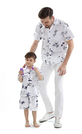 542c33b6d Matching Father Son Hawaiian Luau Outfit Men Shirt Boy Shirt Shorts Classic  White Flamingo at Amazon Men's Clothing store: