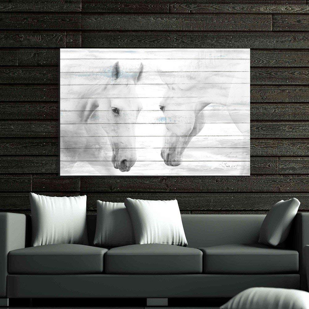 Aitesi Art Canvas Print Art 'White Horses' 24x36-inch Gallery-Wrapped Wall Painting for Living Room Decor Ready to Hang (24x36inch)