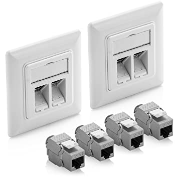 6x Cat5E RJ45 Ethernet Network Coupler Snap-In Jack Keystone Wall Plate Orange