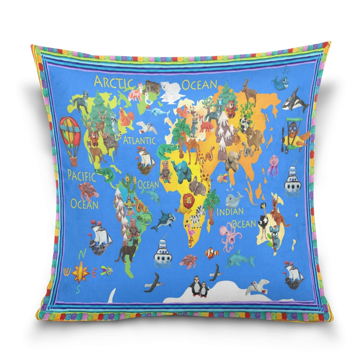 ALAZA Cartoon Animal World Map Cotton Pillowcase 20 X 20 Inches Twin Sides, Cute Global World Map Pillow Case Sham Cover Protector Decorative for Home Hotel Couch Ded