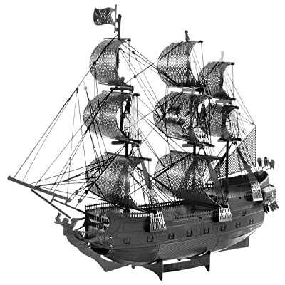 Fascinations Metal Earth ICONX Black Pearl Ship Black Version 3D Metal Model Kit: Toys & Games
