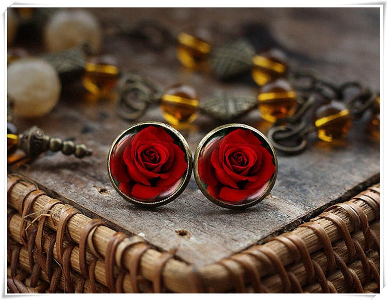 Blooming Rose pendientes, Oscuro Rosa Pendientes, gótico rosa pendientes