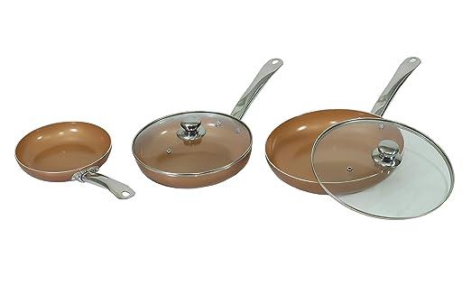 MAXELLPOWER Juego DE 3 SARTENES 2 Tapas Color Cobre Copper ...
