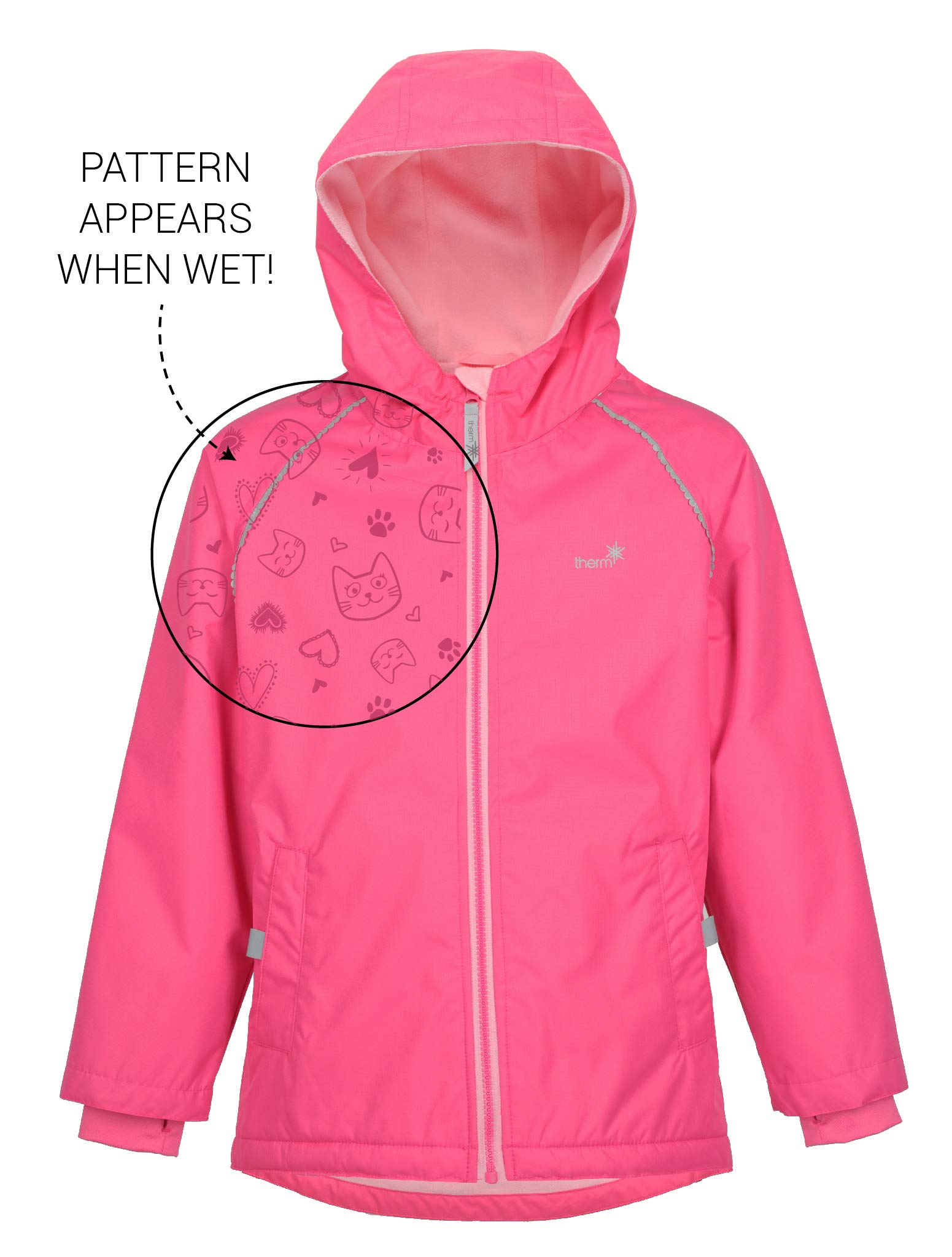 Therm Wind and Waterproof Lightweight Fleece Lined Rain Jacket with Magic Print (8, Paradise Pink)