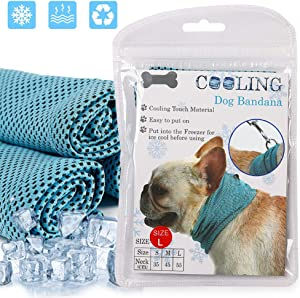 Coppthinktu Dog Instant Cooling Bandana, Professional Pet Breathable Scarf Cats Ice Collar for Summer, Ice Towels for Frenchie Bulldog, Cooling Towel Wrap Dog Collar for Puppy with Leash Hole Blue