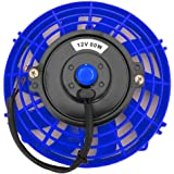 Upgr8 Universal High Performance 12V Slim Electric Cooling Radiator Fan With Fan Mounting Kit (7 Inch, Blue)