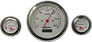 Dolphin Gauges 1957 Chevy Car 3 Gauge Dash Cluster Panel Metric Programmable White