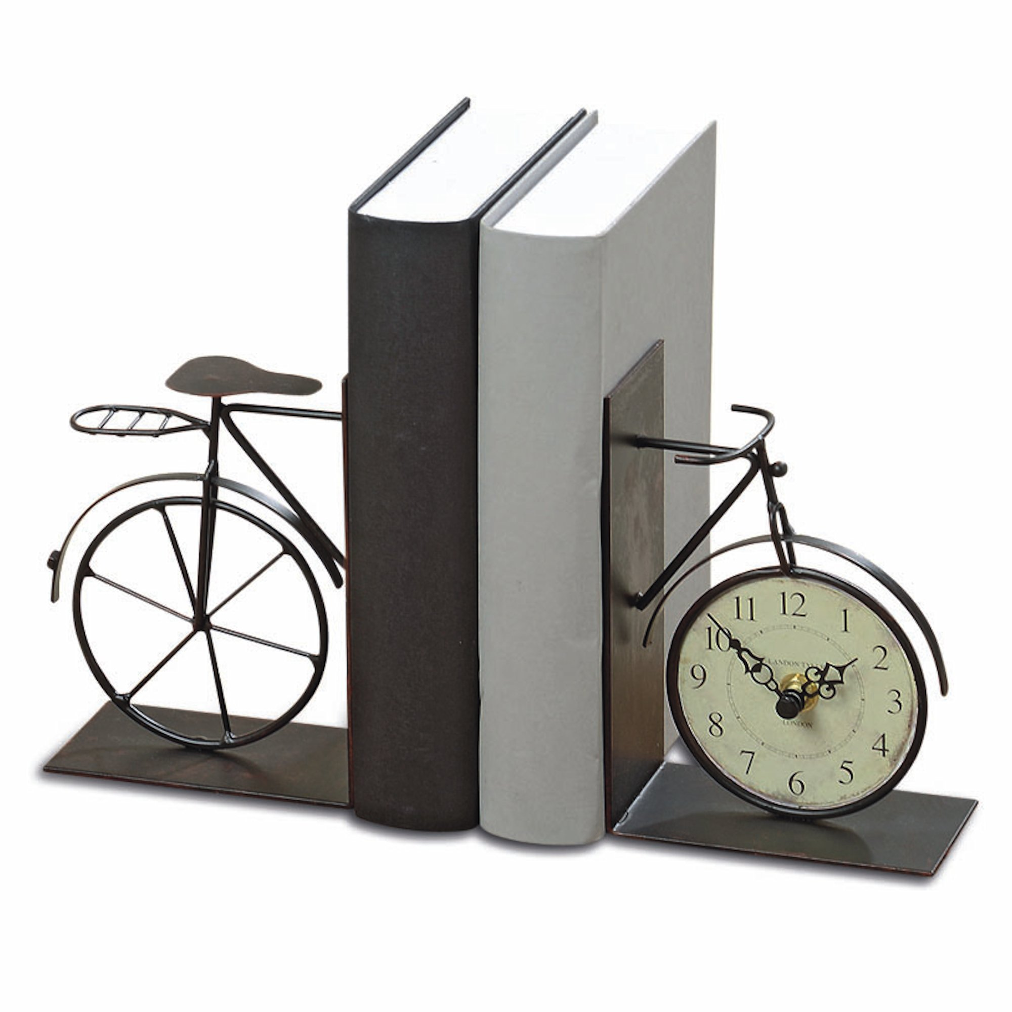 Whole House Worlds The Industrial Chic Bicycle Bookends with Analog Clock, Set of 2, Handcrafted of Bent and Welded Black Iron, Combined 8 5/8? Long, 1 AA Battery (Not Included,) By by Whole House Worlds