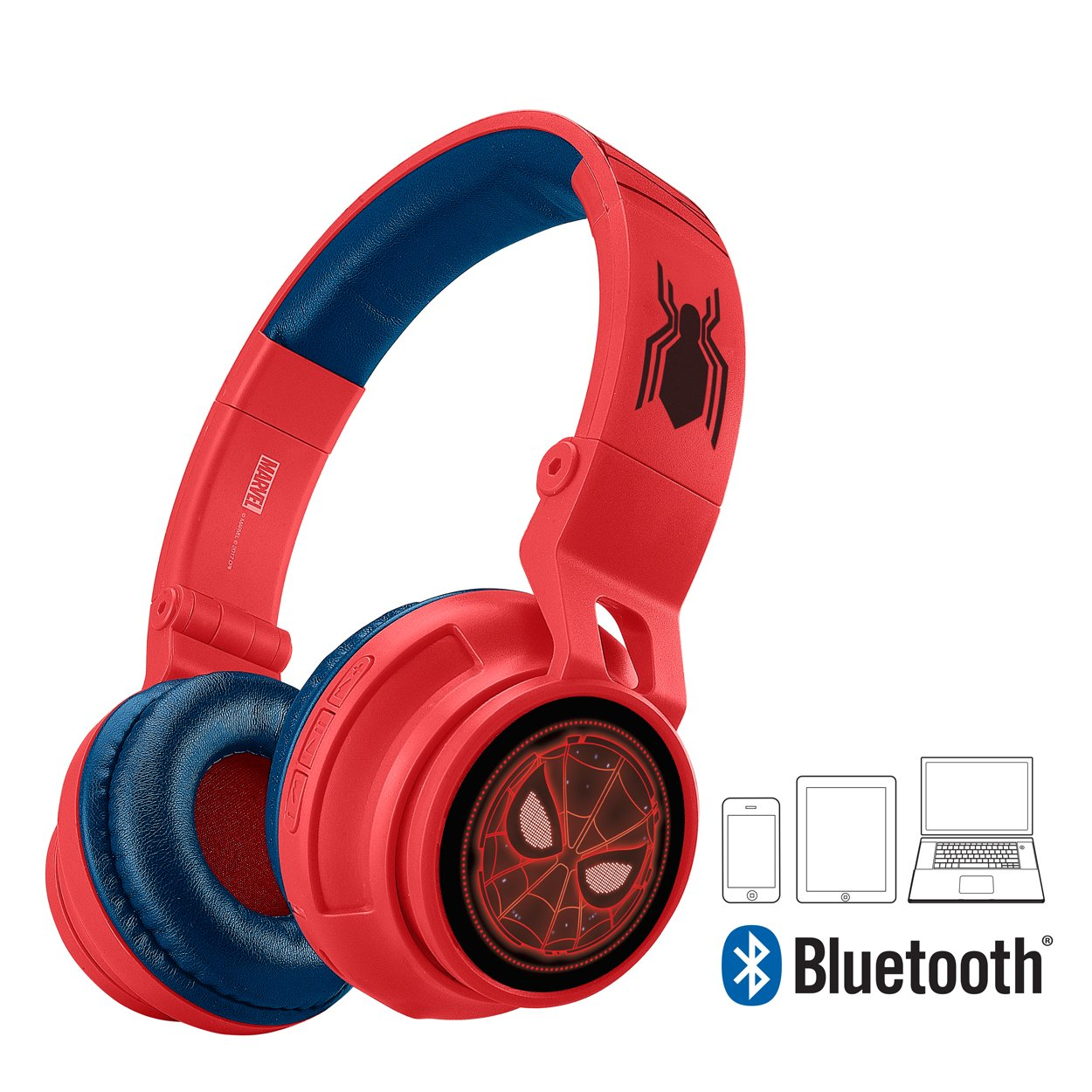 Spiderman Bluetooth Headphones for Kids Wireless Rechargeable Kid Friendly Sound (Spiderman) by eKids