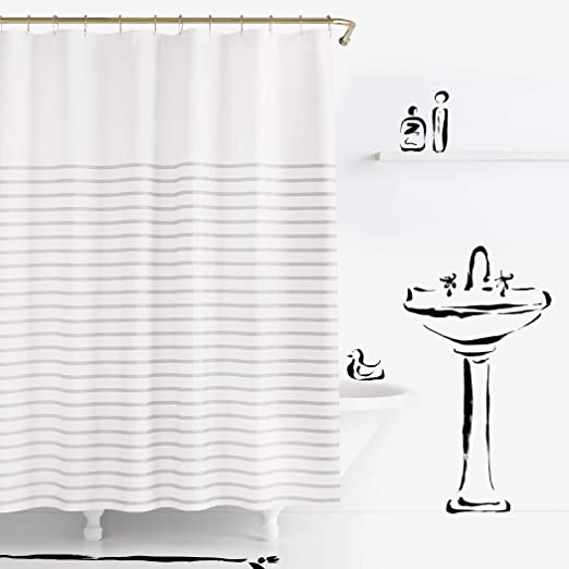Kate Spade Shower Curtain Harbour Stripe White with Turquoise Stripes New